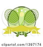 Clipart Of A Ball Over Crossed Tennis Rackets And A Green Circle With Stars And A Blank Ribbon Banner Royalty Free Vector Illustration