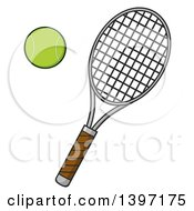 Clipart Of A Tennis Racket And Ball Royalty Free Vector Illustration by Hit Toon