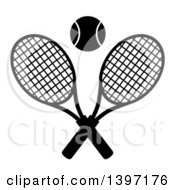 Clipart Of A Black And White Silhouetted Ball Over Crossed Tennis Racket Royalty Free Vector Illustration