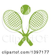 Clipart Of A Green Silhouetted Ball Over Crossed Tennis Rackets Royalty Free Vector Illustration