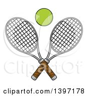 Clipart Of A Ball Over Crossed Tennis Rackets Royalty Free Vector Illustration