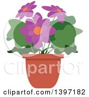 Clipart Of A Potted Flowering Plant Royalty Free Vector Illustration