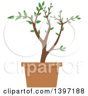 Clipart Of A Potted Plant Royalty Free Vector Illustration by dero