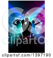 Clipart Of A Background Of Silhouetted Dancers With Magical Swooshes Over Colorful Lights Royalty Free Vector Illustration by dero