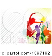 Group Of Colorful Silhouetted Women Dancing And Jumping Over Colorful Splatters And Diagonal Stripes