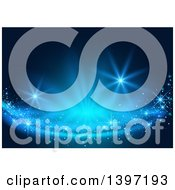 Clipart Of A Background Of Magical Lights On Blue Royalty Free Vector Illustration