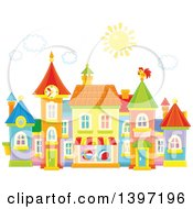 Clipart Of A Colorful Toy Town Village Royalty Free Vector Illustration by Alex Bannykh