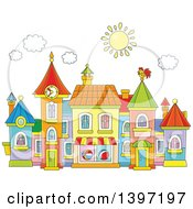 Clipart Of A Cartoon Toy Town Village Royalty Free Vector Illustration