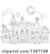 Clipart Of A Cartoon Black And White Lineart Toy Town Village Royalty Free Vector Illustration by Alex Bannykh