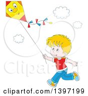 Happy Blond White Boy Running And Flying A Kite