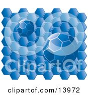 Blue Honeycomb Background With Honecyomb Balls