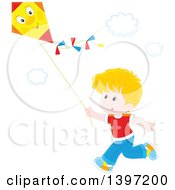 Clipart Of A Happy Blond Caucasian Boy Running And Flying A Kite Royalty Free Vector Illustration