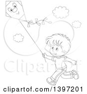 Clipart Of A Happy Black And White Lineart Boy Running And Flying A Kite Royalty Free Vector Illustration