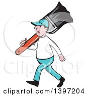 Clipart Of A Retro Cartoon White Male House Painter Carrying A Giant Brush On His Shoulder Royalty Free Vector Illustration