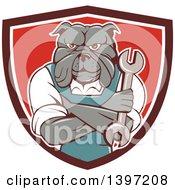 Clipart Of A Cartoon Bulldog Man Mechanic With Folded Arms Holding A Wrench In A Shield Royalty Free Vector Illustration by patrimonio