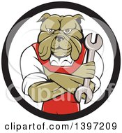 Clipart Of A Cartoon Bulldog Man Mechanic With Folded Arms Holding A Wrench In A Black And White Circle Royalty Free Vector Illustration by patrimonio