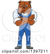 Clipart Of A Cartoon Bulldog Man Standing With Folded Arms Wearing Overalls Royalty Free Vector Illustration by patrimonio