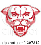 Clipart Of A Retro Fierce Mountain Lion Puma Cougar Face Royalty Free Vector Illustration by patrimonio