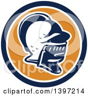 Clipart Of A Retro Knight Helmet In A Blue White And Orange Circle Royalty Free Vector Illustration