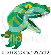 Clipart Of A Low Polygon Lizard Raptor Or Tyrannosaurus Rex Royalty Free Vector Illustration