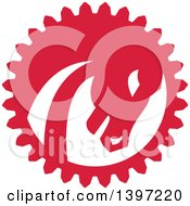 Clipart Of A Retro Red And White War Horse Head In A Gear Circle Royalty Free Vector Illustration
