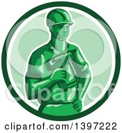 Clipart Of A Retro Green Toy Construction Worker Holding A Nail Gun In A Circle Royalty Free Vector Illustration