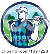 Clipart Of A Retro Male Golfer Stretching With A Club Over His Shoulders In A Blue White And Green Circle Royalty Free Vector Illustration