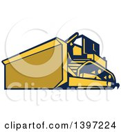 Clipart Of A Retro Yellow And Blue Bulldozer Construction Machine Royalty Free Vector Illustration