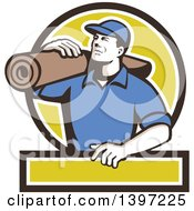 Clipart Of A Retro Male Carpet Layer Carrying A Roll In A Black White And Green Frame Royalty Free Vector Illustration by patrimonio