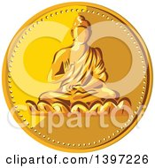 Clipart Of A Gold Coin Medallion Of Buddha Royalty Free Vector Illustration