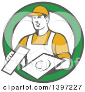 Retro Male Plasterer Holding Trowels In A Green And White Circle