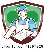 Retro Male Plasterer Holding Trowels In A Shield