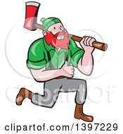 Cartoon Red Haired Lumberjack Paul Bunyan Kneeling Carrying An Axe And Giving A Thumb Up