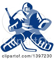 Clipart Of A Retro Blue And White Hockey Player Goalie Royalty Free Vector Illustration