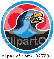 Clipart Of A Retro Blue Hawk Bird In A Blue White And Red Circle Royalty Free Vector Illustration