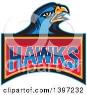 Clipart Of A Retro Blue Hawk Bird Over Text Royalty Free Vector Illustration