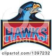 Retro Blue Hawk Bird Over Text