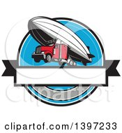 Clipart Of A Retro Big Rig Truck Flying Attached To A Zeppelin Blimp Royalty Free Vector Illustration