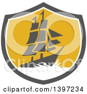 Clipart Of A Retro Galleon Ship With Lightning In A Gray White And Yellow Shield Royalty Free Vector Illustration