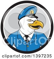 Clipart Of A Cartoon Bald Eagle Police Officer Man In A Black White And Gray Circle Royalty Free Vector Illustration