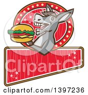 Clipart Of A Retro Donkey About To Take A Bite Out Of A Cheeseburger On A Red Sign Royalty Free Vector Illustration by patrimonio
