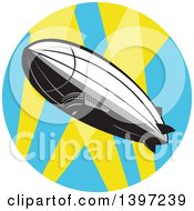 Clipart Of A Retro Zeppelin Blimp In A Circle Of Spot Lights Royalty Free Vector Illustration by patrimonio