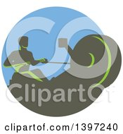 Clipart Of A Retro Green Man Working Out On A Rowing Machine In A Circle Royalty Free Vector Illustration