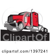 Clipart Of A Retro Red Big Rig Truck Royalty Free Vector Illustration