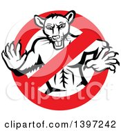 Retro Black And White Muscular Rat In A Prohibited Symbol