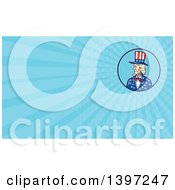 Clipart Of A Cartoon Patriotic American Uncle Sam And Blue Rays Background Or Business Card Design Royalty Free Illustration