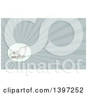 Clipart Of A Sketched Mechanical Excavator And Rays Background Or Business Card Design Royalty Free Illustration