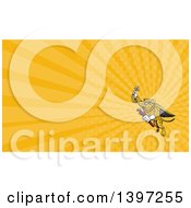 Clipart Of A Cartoon Flying Super Leopard Refrigeration And Air Conditioning Mechanic Holding Up A Pressure Temperature Gauge And A Monkey Wrench And Orange Rays Background Or Business Card Design Royalty Free Illustration by patrimonio