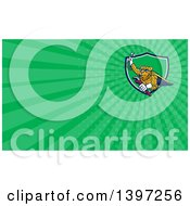 Clipart Of A Cartoon Flying Super Leopard Refrigeration And Air Conditioning Mechanic Holding Up A Pressure Temperature Gauge And A Monkey Wrench And Green Rays Background Or Business Card Design Royalty Free Illustration