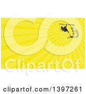 Clipart Of A Retro Barramundi Asian Sea Bass Fish Jumping And Swallowing A Fishing Line Attached To A Helicopter And Yellow Rays Background Or Business Card Design Royalty Free Illustration